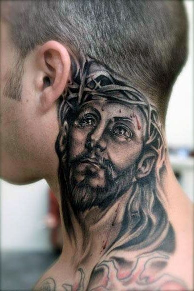 Tatuaże Męskie Chrystus Na Szyi Na Tatuaże Zszywkapl