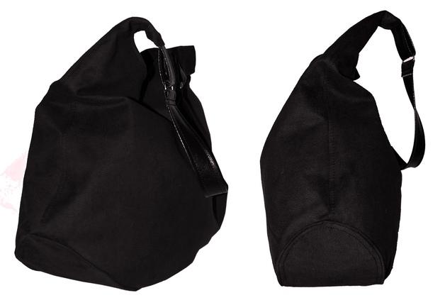 d5883e3555a01 Duża torebka typu worek hobo.Zamsz ekologiczny czarny,ucho z cz.. na ...