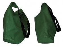 Duża torebka typu worek hobo.Zamsz ekologiczny zieleń butelkowa,ucho z czarne...