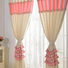 Girls Favorite Pink and white polka dot curtains