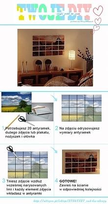 Dziś nowy pomysł na upiększenie naszych ścian w 4 krokach: 1. Potrzebujesz 20 małych antyramek, duże zdjęcie lub plakat, nożyczki i ołówek 2. Na zdjęciu odrysowujesz wymiary ram...