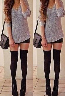 Stylizacja :) Zakolanówki czarne buty torebka, szary sweterek , złoty naszyjn...