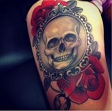 skull rose red tattoo