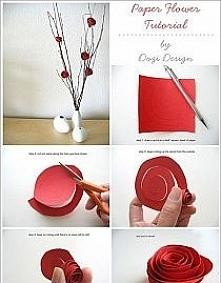 Papierowe różyczki na Dzien Kobiet :)