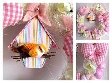Uroczy wiosenny, wielkanocny wianek, utrzymany w różach. Cena 30zł. Zapraszamy na naszą stronę na facebooku Dekoracje Wrzosik Zielona Góra :)