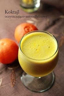 Koktajl odchudzająco-antycellulitowy  Składniki: (1 porcja) * 1 duży ogórek bez skórki * 1 obrana pomarańcza * 3 gałązki selera naciowego * 1 jabłko * 1 plasterek imbiru (opcjon...