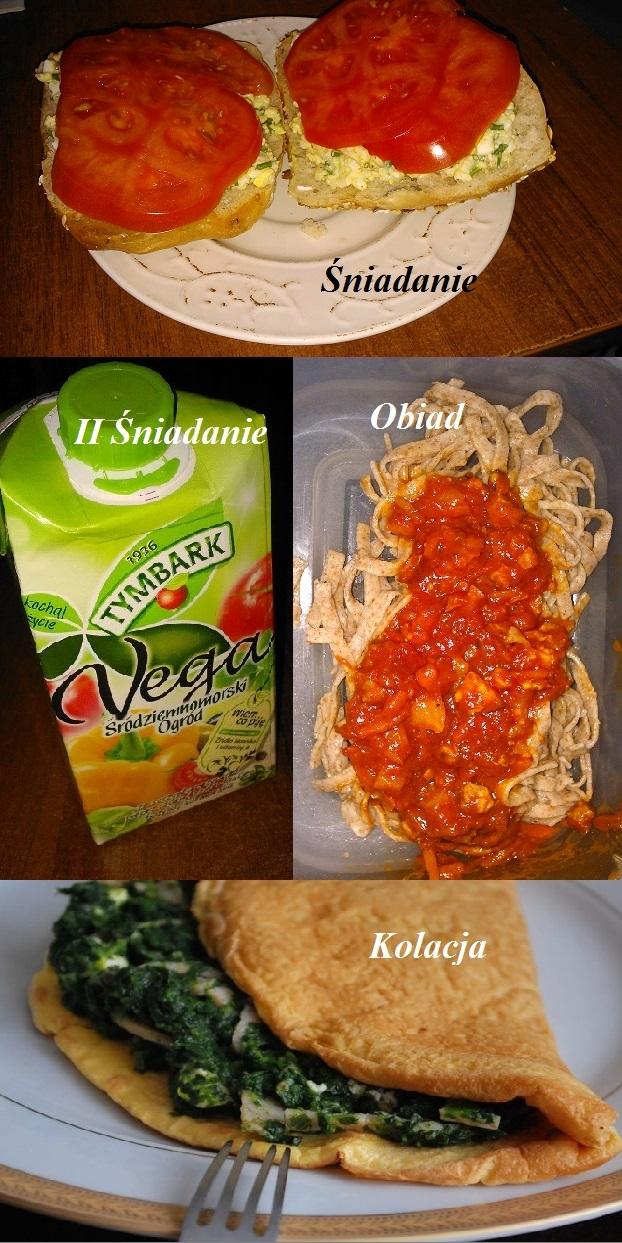 Przedstawiam Wam mój dzienny zestaw posiłków :)  Schudłam już 15 kg... Ostatnio trochę zaniedbałam dietę i zaczynam od nowa bo zostało mi jeszcze 7 kg :)  Śniadanie: bułka grahamka, pasta jajeczna(jajka, serek wiejski, szczypiorek), 4 plastry pomidora II śniadanie - sok Vega Obiad - spagetti, sos robiłam sama z dietetycznego przepisu, makaron pełnoziarnisty z otrębami Kolacja - omlet z dwóch jajek ze szpinakiem i serkiem wiejskim (przepraszam za nieoryginalne zdjęcie ale zapomniałam zrobić swojego)  Po około godzinie od kolacji 30 min na orbiteku ze zmiennym programem :)