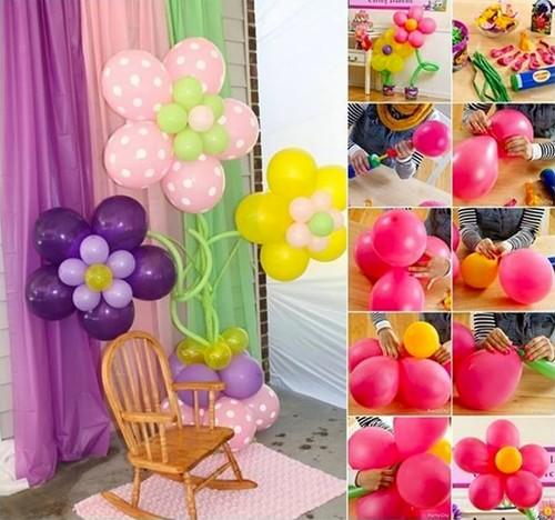 Kwiaty z balonów-dekoracja przyjęcia.