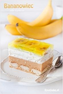 Bananowiec, ciasto na zimno – przepis bez pieczenia ilovebake.pl