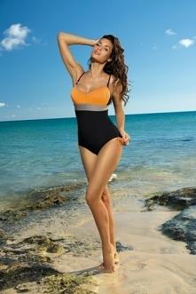 Marko - Kostium kąpielowy Whitney Nero-Calendula-Fango M-253 Czarno-pomarańczowy (227)