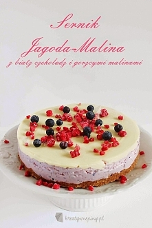 Sernik jagoda-malina z biał...