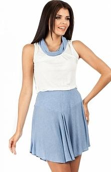 Moe MOE095 sukienka błękitna Zwiewna dwukolorowa sukienka - odcinana w pasie