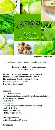 Zielony Koktajl Top Modelek (m.in. modelek Victoria Secrets) - prosty przepis (nie musisz liczyć kalorii)