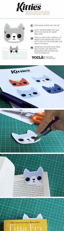 """aby pobrać kotka-zakładkę do druku, klik w obrazek, i na dole: """" kitties, download your free bookmarks now """" :)"""