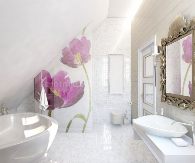 Aranżacja łazienki Na Poddaszu W Połyskujących Bielach I