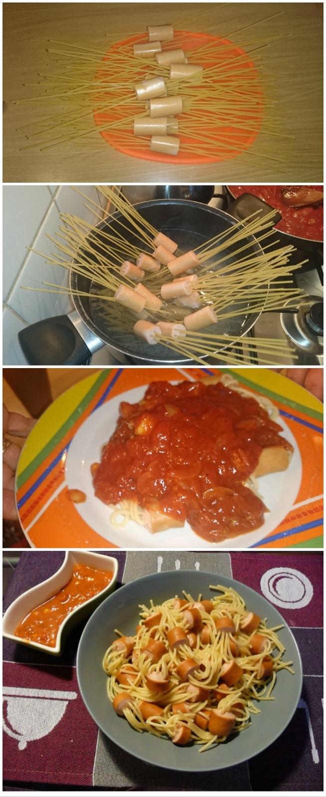Nadziewamy parówki makaronem....SOS: cebula przesamażona, pomidory w puszce, czosnek, ketchup; PRZYPRAWY: oregano, pieprz, sol, cukier, curry, bazylia. dwie dwersje podawania: dwa talerze lub na jednym..:-) SMACZNEGO!!!