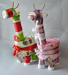 Pieluszkowe żyrafki na narodziny, chrzest czy urodziny...