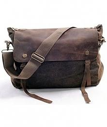 """Bawełniano-skórzana torba na ramię """"Mail'. Perfekcyjne połączenie s..."""