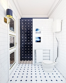Aranżacja wnętrza stylowej biało-niebieskiej łazienki - Tissu. W pomieszczeni...