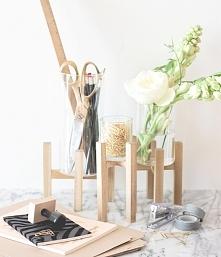 ••Raised Wood and Glass Desk Organizer