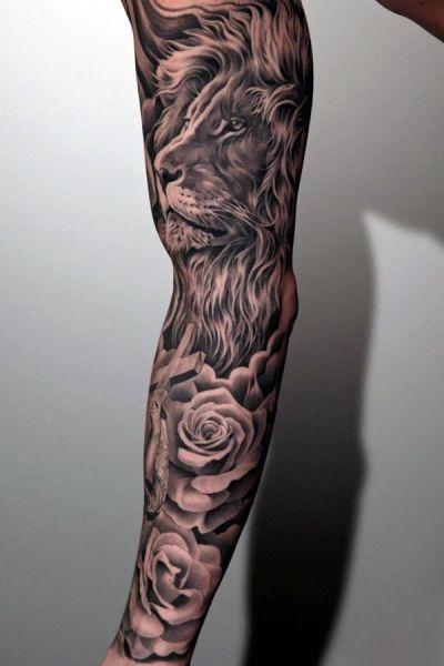 Tatuaże Męskie Lew I Róże Na Tatuaże Zszywkapl
