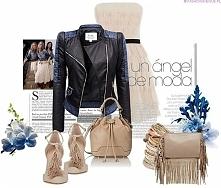 fashionavenue.pl Stylizacja kurtka damska ramoneska skóra jeans bufki na wiosnę i lato najmodniejsza #102
