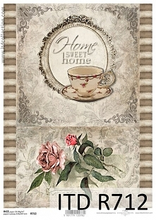 Papier ryżowy decoupage Vintage, kwiaty, Home Sweet Home