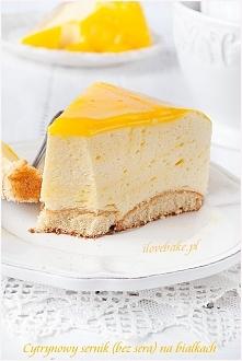 Cytrynowy sernik na zimno (bez sera) na białkach – przepis od ilovebake.pl