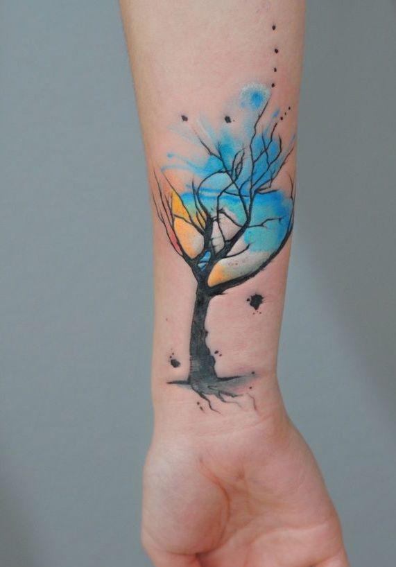 Drzewo Tatuaż Na Ręce Na Ciekawe Tatuaże Zszywkapl