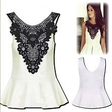 Fashion Hollow Out Crochet Spliced Sleeveless Dress