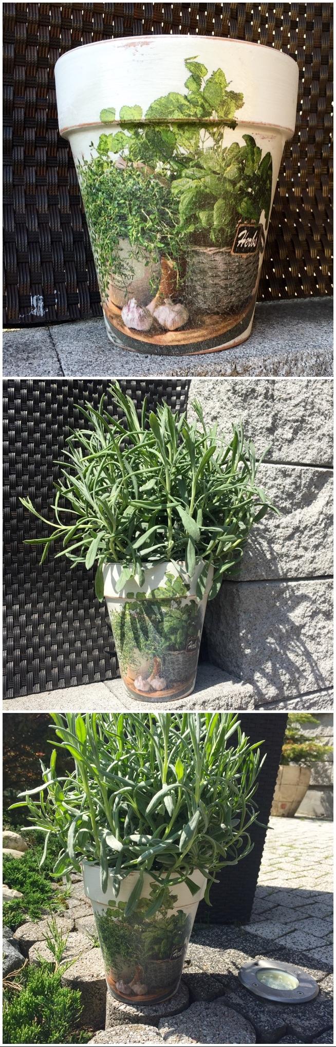 doniczka na zioła - mój decoupage