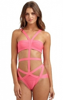 2015 Cheap Herve Leger Pink Tamara One Piece Swimwear [Herve Leger 1723a] - $105.00 : 2015 Herve Leger bandage dress,skirt,swimwear and BCBG dresses on sale- hervelegerdiscount.com