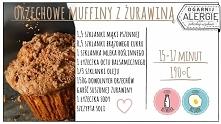 Muffiny bez jajek i mleka, za to z orzechową nutą i odrobiną żurawiny.