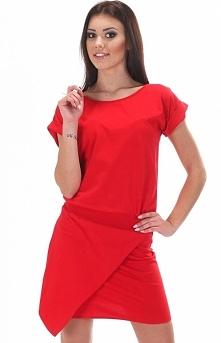 SIMMI S047 sukienka czerwona Dzianinowa mini sukienka - krótki rekaw