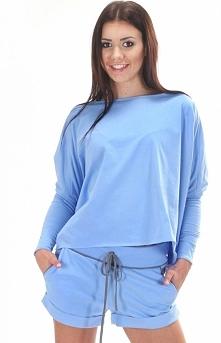 SIMMI S053 bluzka błękitna Świetna dzianinowa bluza - sportowy charakter
