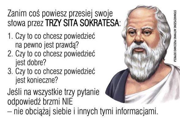 Znalezione obrazy dla zapytania trzy sita Sokratesa