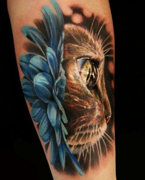 Realistyczny Tatuaż Kota Na Tatuaże Zszywkapl