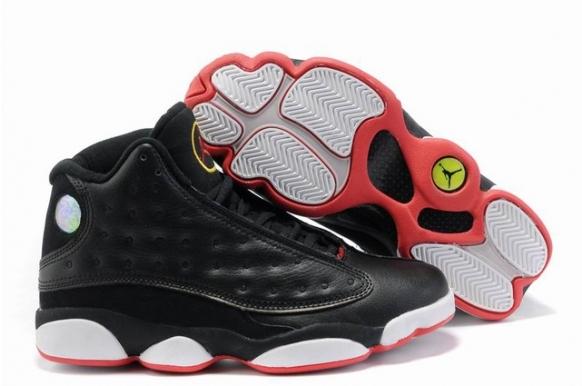 Cheap Nike Air Jordan 13 Black White Red Mens Retro Shoes