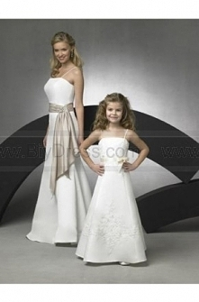 Price crash,A line Spaghetti Straps Tea length Satin Flower girls Dress For Sale