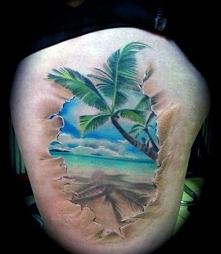 tatuaże 3d rajska plaża