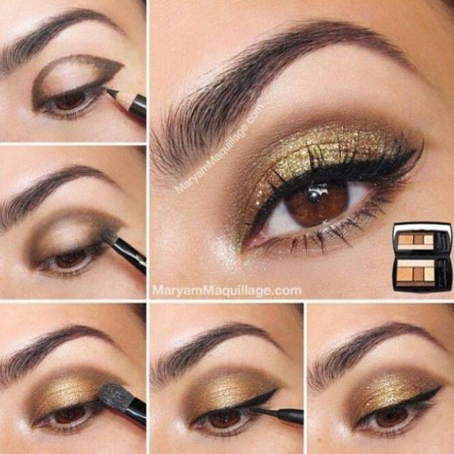 Złoty makijaż.