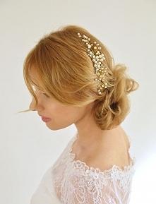Gałązka złote perełki - ślubna, subtelna ozdoba do włosów.  Dostępna w sklepi...