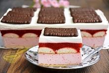 """Ciasto """"Truskawkowa rozkosz"""" (bez pieczenia) Przepis po kliknięciu w zdjęcie ;)"""