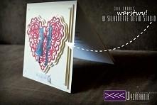 Ręcznie robiona kartka na ślub, stworzona dzięki dzięki ploterowi cameo 2.