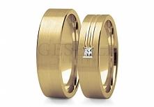 ST 214Z Wyjątkowa para obrączek ślubnych w stylu klasycznym - żółte złoto, pi...
