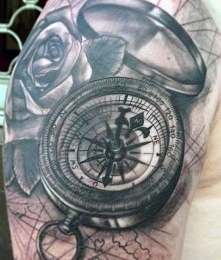 compass tattoo 3D