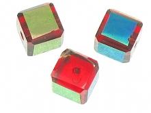 Koraliki Szkło w Ramce Cube Czerwony