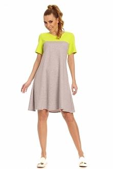 Trapezowa sukienka neon + limonka
