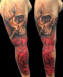 czaszka i róże