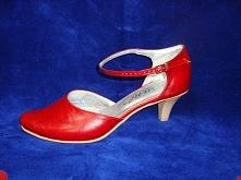 czerwone buty z eko skórki,obcas 5 cm,wewnątrz skóra.Sklep internetowy www  c...